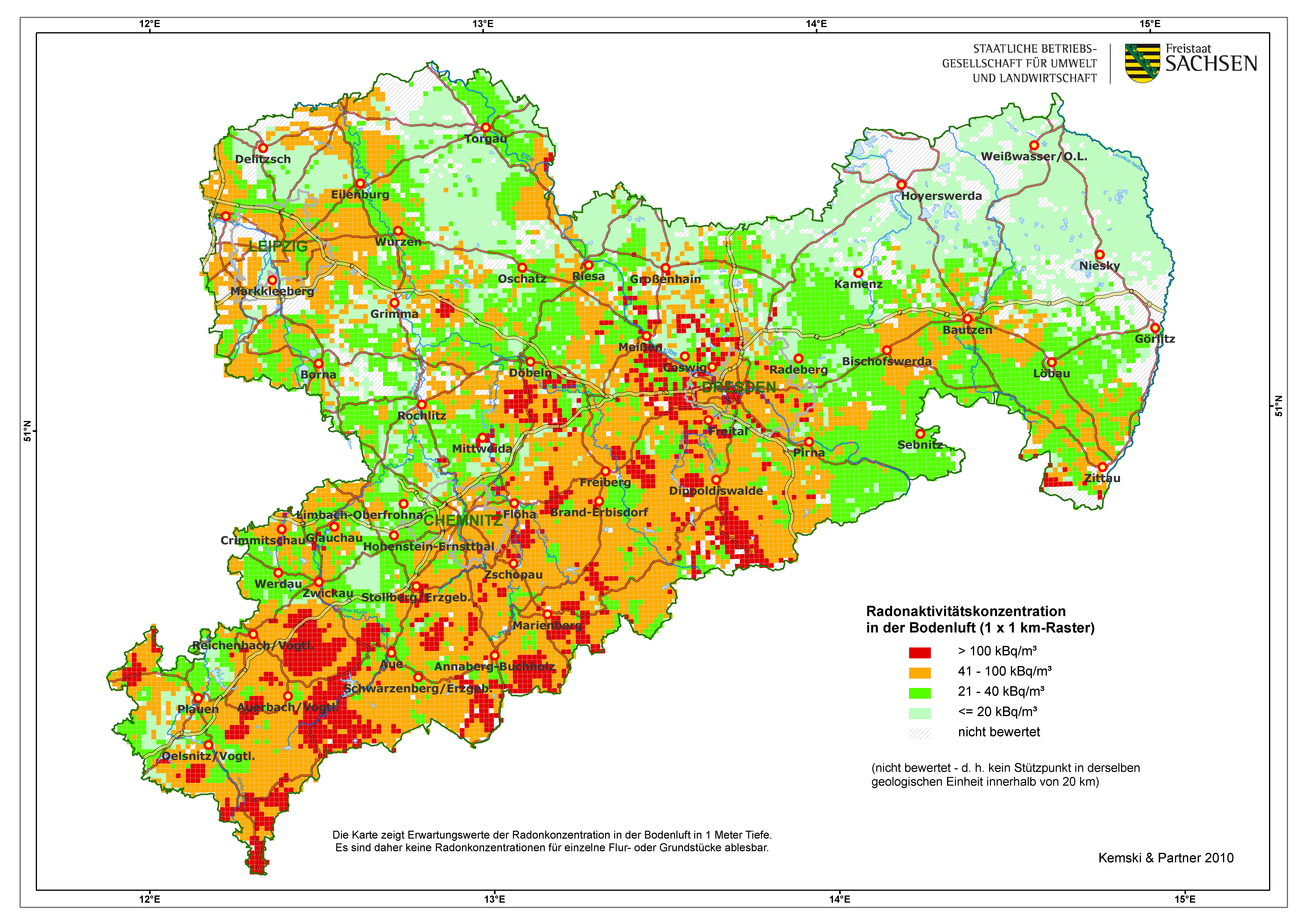 radonbelastung dresden karte Radonpotenzial in Sachsen   sachsen.de